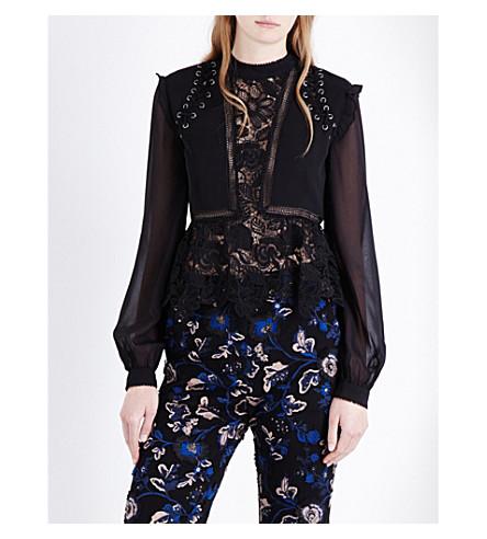 40c56b306ca09d SELF-PORTRAIT - Lace Detail guipure-lace top | Selfridges.com