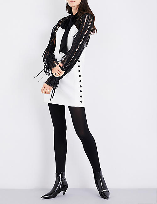 SELF-PORTRAIT Monochrome crepe mini dress