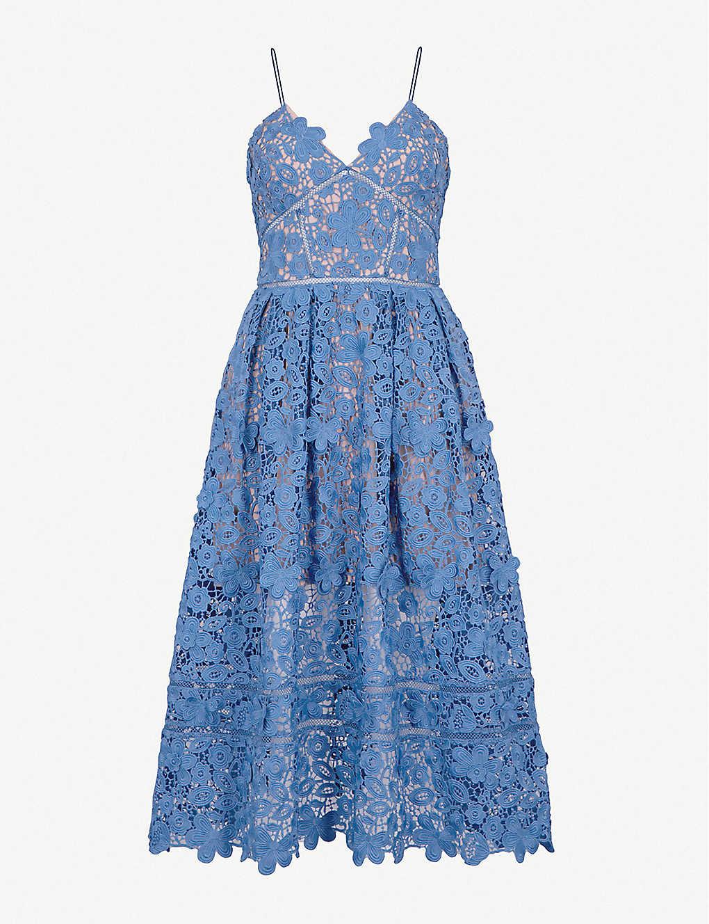 df155b5ba89 SELF-PORTRAIT - 3D Floral Azaelea guipure-lace midi dress ...
