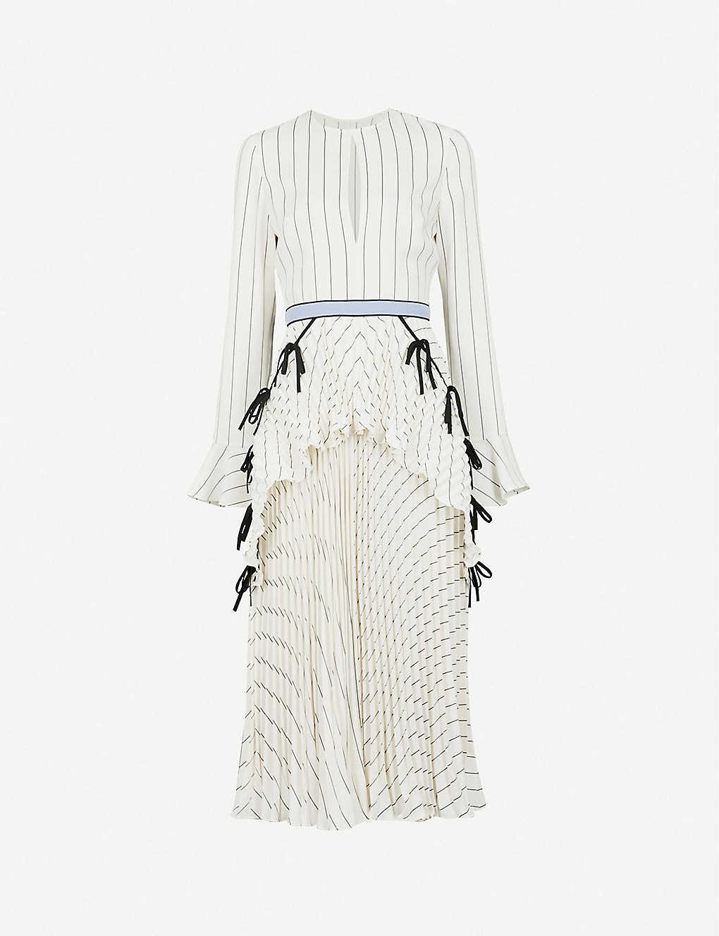 9a69521a398e SELF-PORTRAIT - Pleated Monochrome Stripe crepe midi dress | Selfridges.com