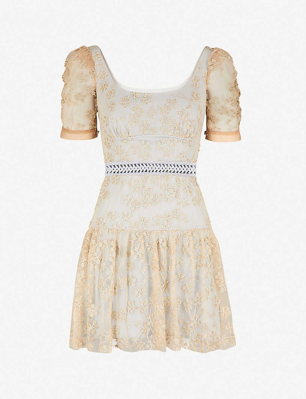 861589be77a1 SELF-PORTRAIT - Embroidered mesh mini dress | Selfridges.com