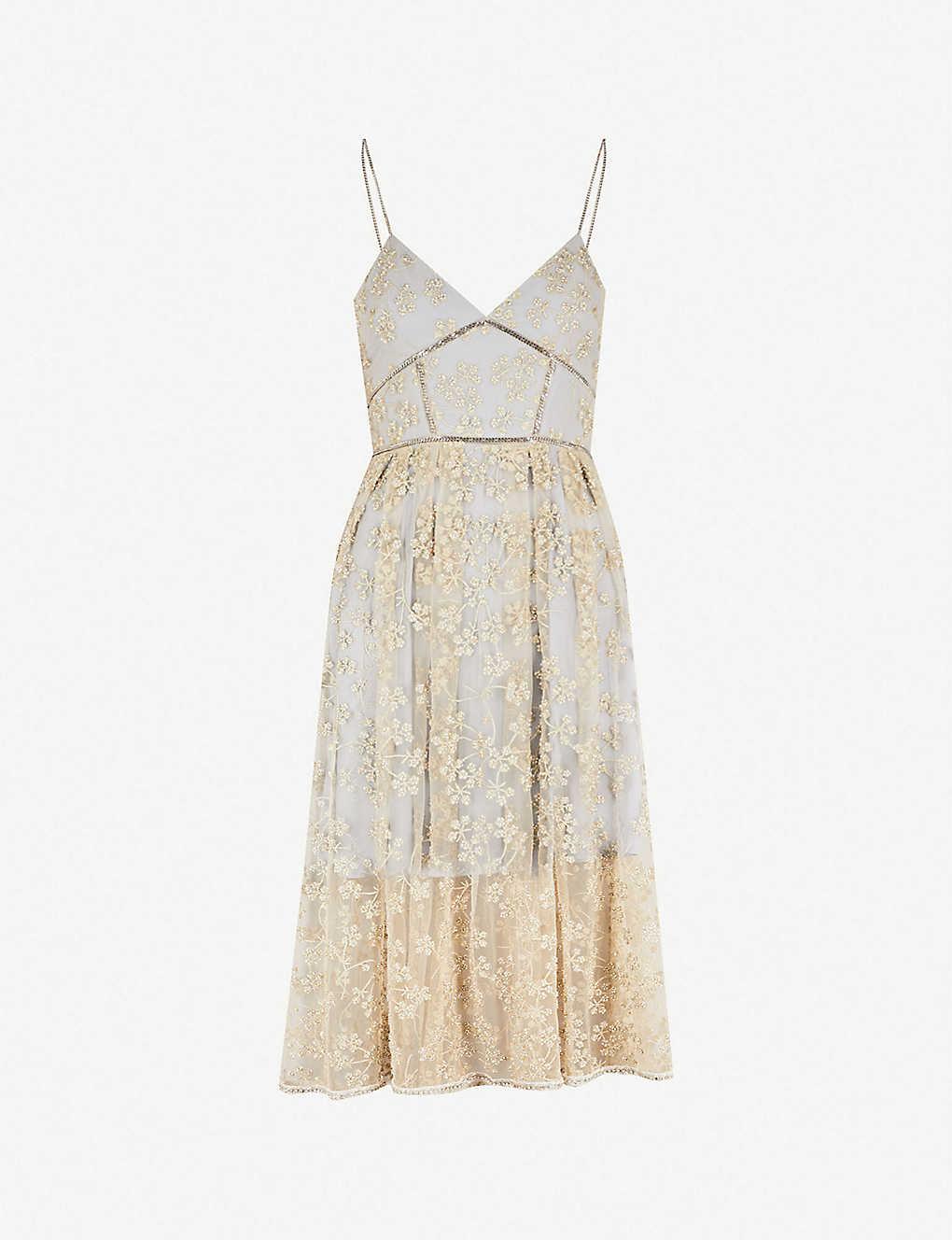 e7d54dfcfd SELF-PORTRAIT - Floral-embroidered mesh midi dress