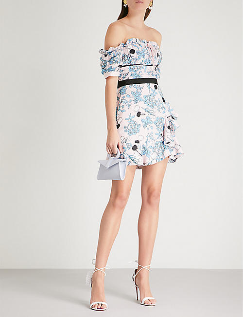 SELF PORTRAIT Floral-print frill off-the-shoulder crepe dress