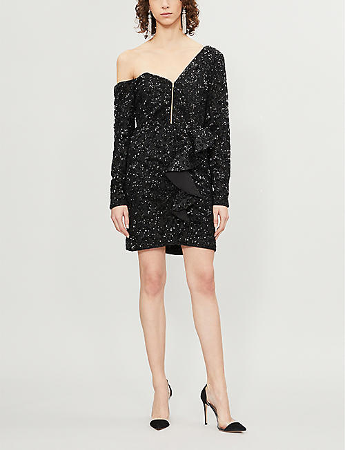 SELF PORTRAIT One-shoulder ruffled sequinned mini dress