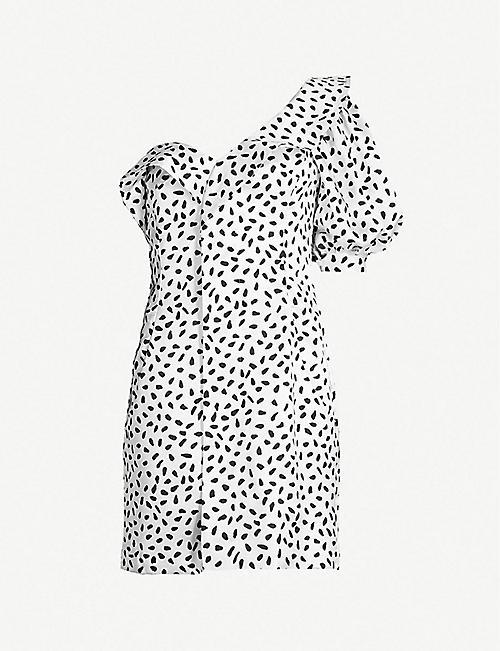 3e08031615f6 SELF PORTRAIT Polka-dot ruffled satin mini dress