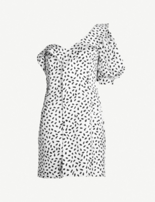 SELF PORTRAIT Polka-dot ruffled satin mini dress