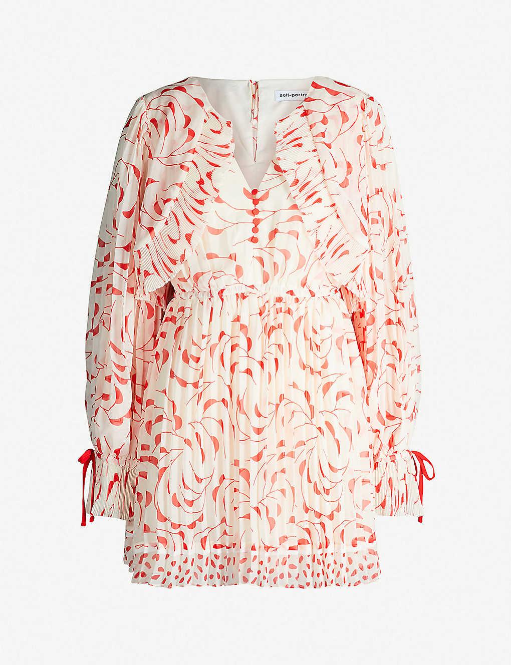 069196aa182f SELF-PORTRAIT - Crescent-print chiffon cape dress   Selfridges.com