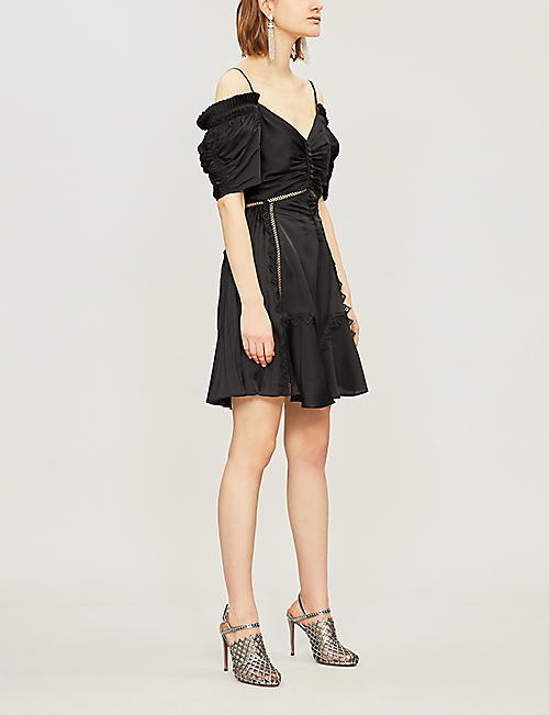 SELF PORTRAIT Off-the-shoulder satin mini dress