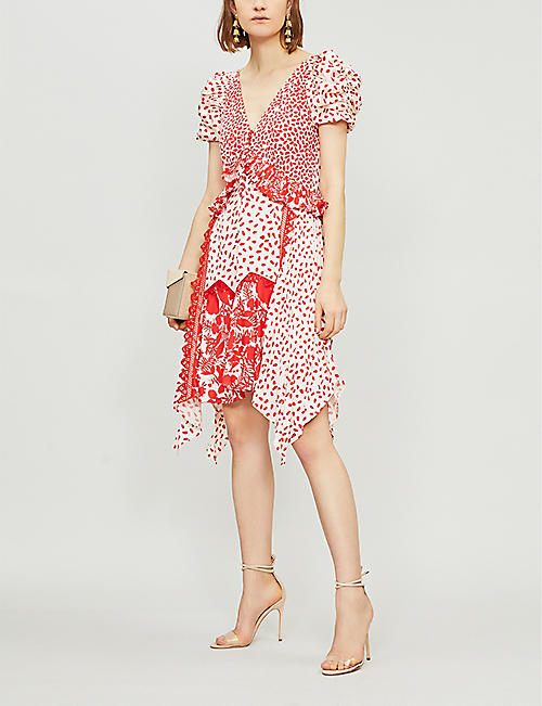 SELF PORTRAIT Printed handkerchief satin dress
