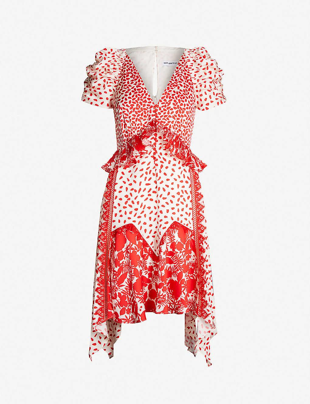 8ec293445b2a SELF-PORTRAIT - Printed handkerchief satin dress | Selfridges.com