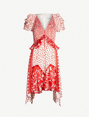 SELF-PORTRAIT Printed handkerchief satin dress