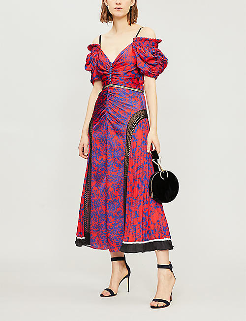 SELF PORTRAIT Off-the-shoulder lace-panelled printed satin midi dress