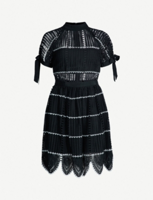 SELF PORTRAIT Scallop-trimmed monochrome crochet dress