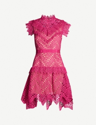 SELF PORTRAIT Abstract triangle-lace mini dress