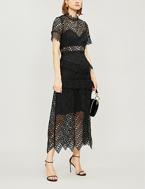 SELF PORTRAIT Abstract triangle-lace midi dress