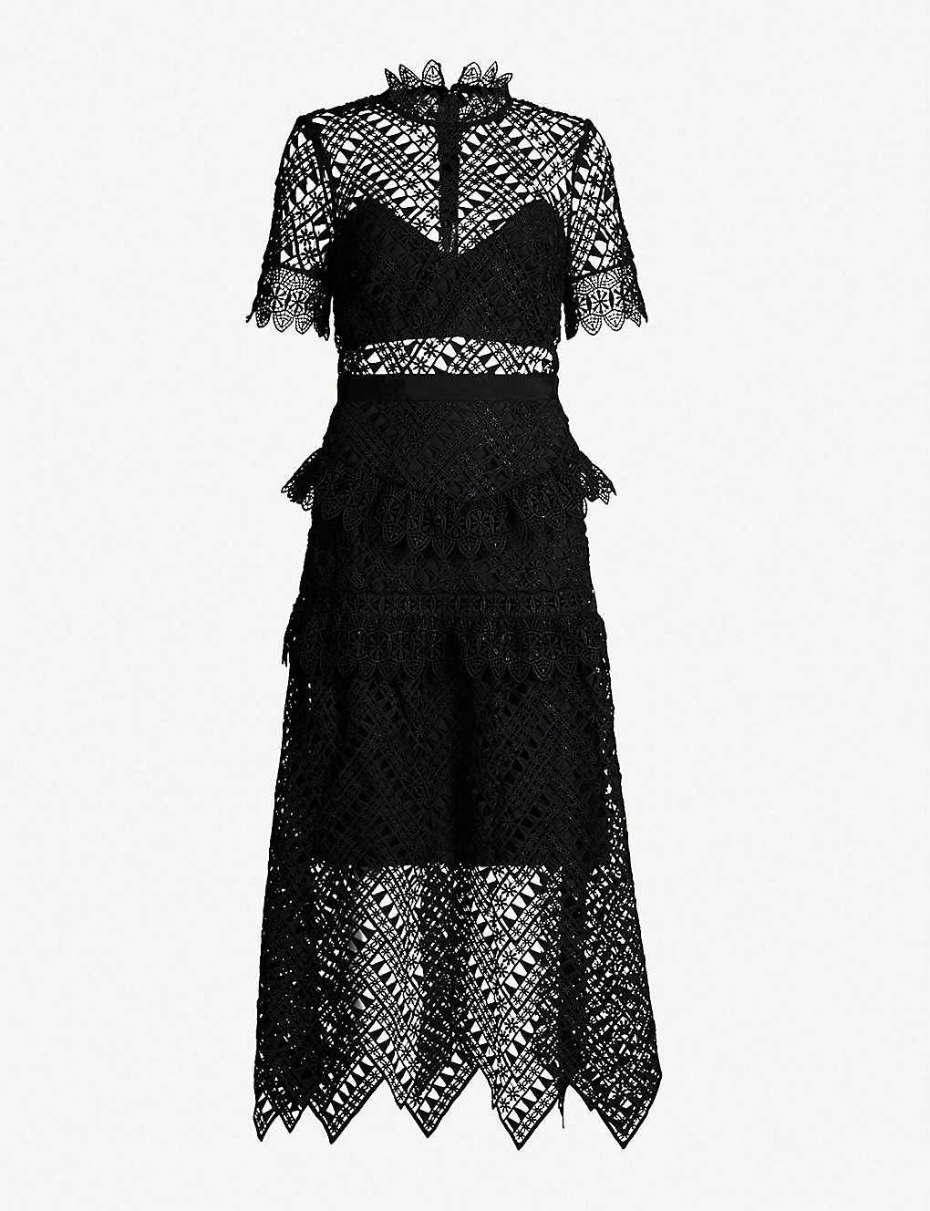 915f5c1ff0fc SELF-PORTRAIT - Abstract triangle-lace midi dress | Selfridges.com
