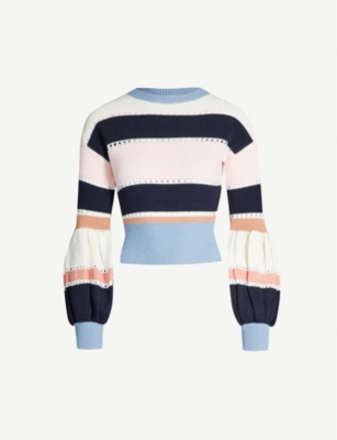 SELF PORTRAIT Striped cotton and wool-blend jumper