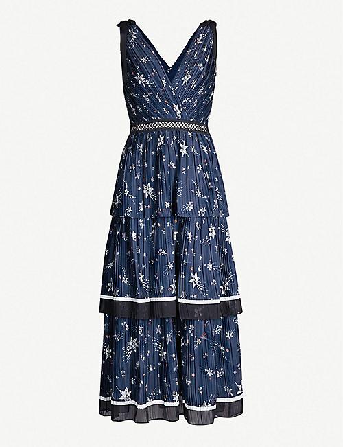 5c4b82de07 SELF PORTRAIT Star-print pleated satin midi dress
