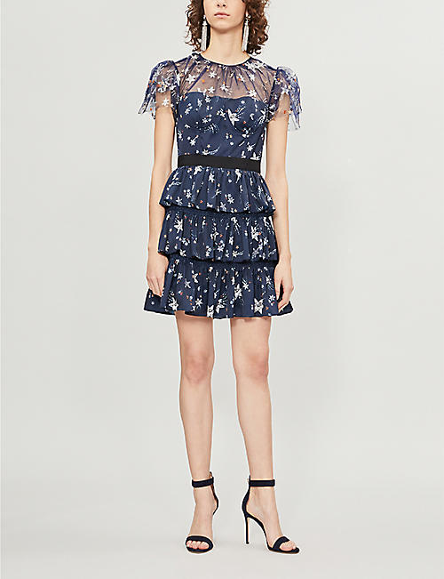 SELF PORTRAIT Tiered star satin and tulle mini dress