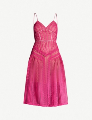 SELF PORTRAIT Panelled spiral-lace flared dress