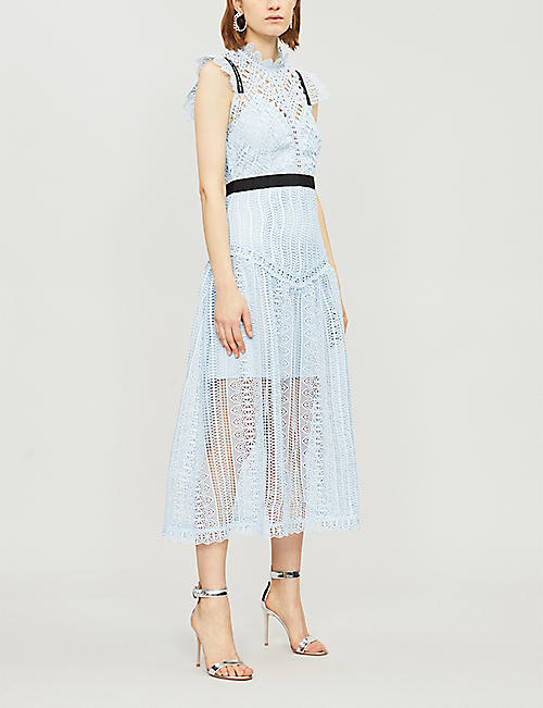 SELF PORTRAIT Abstract Triangle lace midi dress