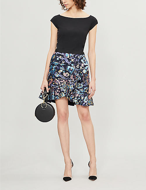 SELF PORTRAIT Flounced floral sequinned skirt