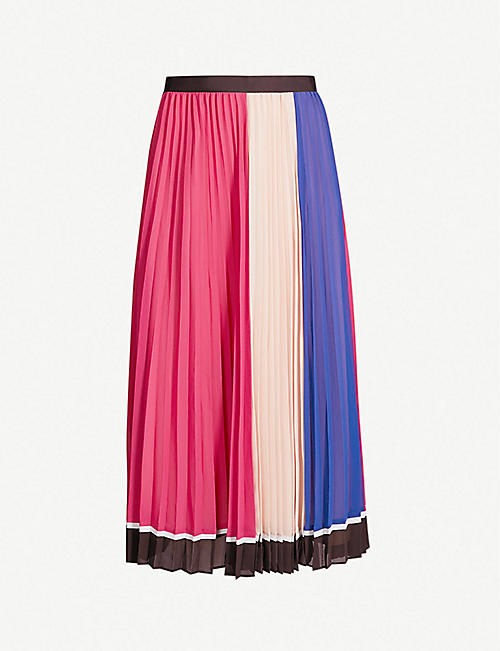 SELF-PORTRAIT Striped pleated chiffon midi skirt