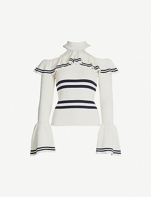 5abcc9656d1 SELF-PORTRAIT Striped cold-shoulder cotton-blend jumper