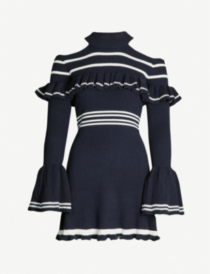 SELF PORTRAIT Striped cold-shoulder cotton-blend dress