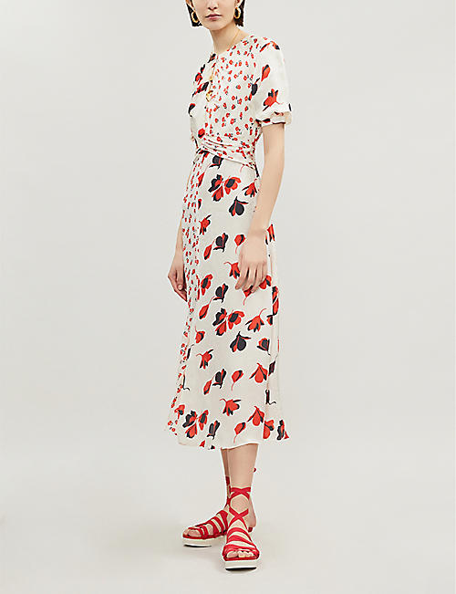 SELF PORTRAIT Mixed floral-print crepe dress