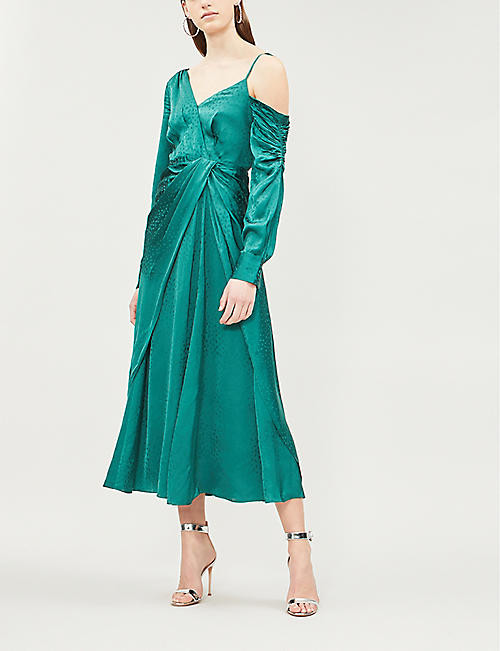 SELF PORTRAIT Cold-shoulder ruched satin-jacquard dress