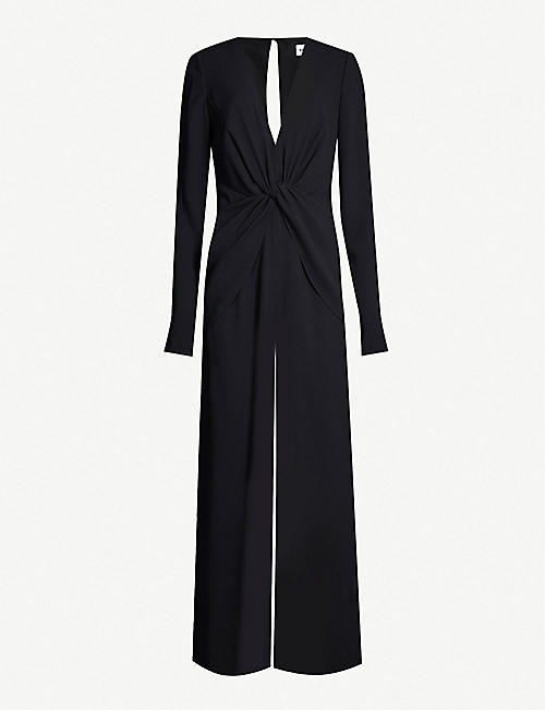 SELF-PORTRAIT Twist-front crepe jumpsuit