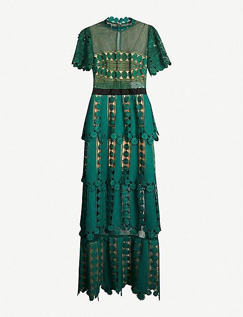 039380961dd SELF-PORTRAIT Teardrop lace maxi dress