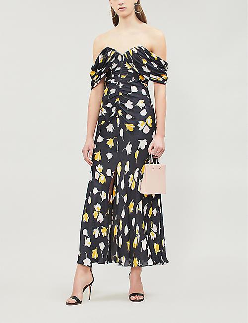 305eaeed03 SELF-PORTRAIT Off-the-shoulder floral-print satin midi dress