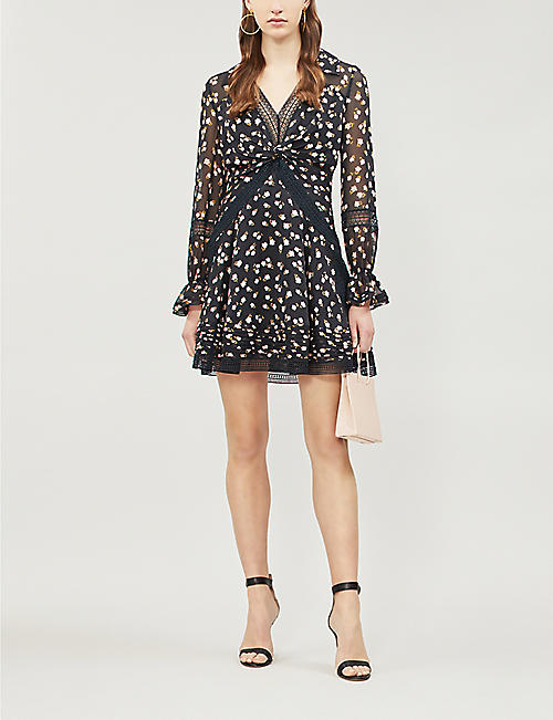 SELF PORTRAIT Twist-Front ditsy-print chiffon mini dress