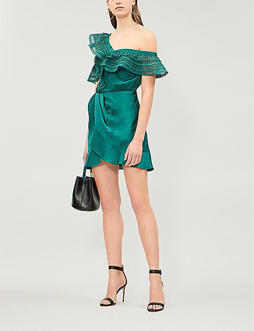 SELF PORTRAIT One-shoulder ruffle-trimmed satin-jacquard dress