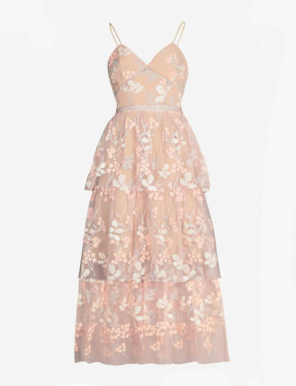 00619ba340b7 SELF-PORTRAIT - Floral embellished tulle midi dress | Selfridges.com