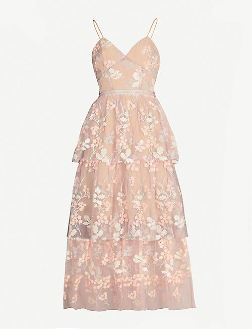 d8d17aeda87f SELF PORTRAIT Floral embellished tulle midi dress