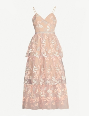 SELF PORTRAIT Floral embellished tulle midi dress