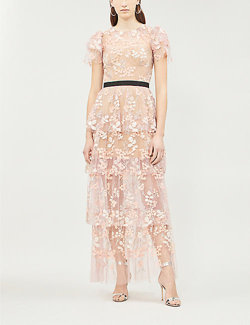 SELF PORTRAIT Floral-embroidered tiered satin and tulle dress