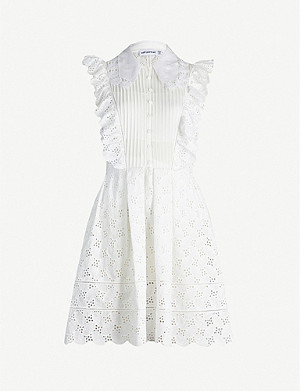 SELF-PORTRAIT Leaf broderie-anglaise mini dress