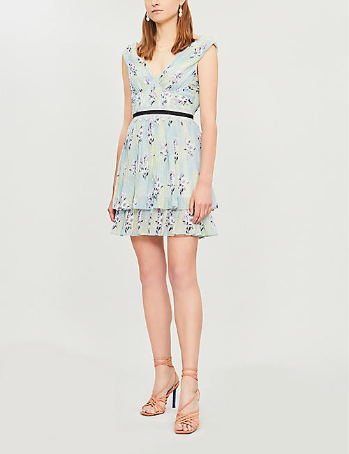 SELF-PORTRAIT Floral-print chiffon mini dress