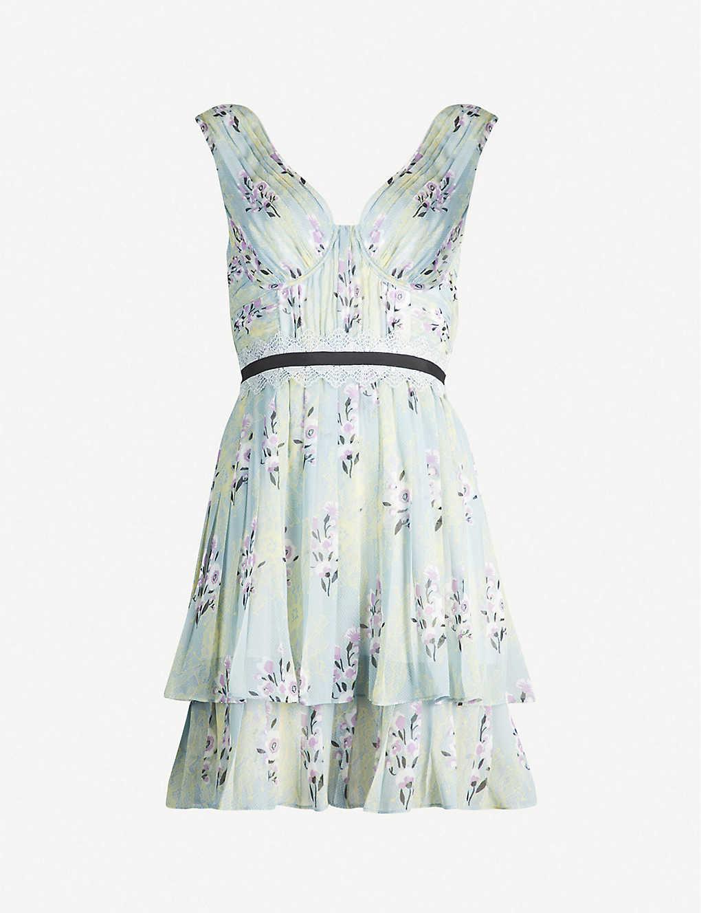 5c3101272a4c SELF-PORTRAIT - Floral-print chiffon mini dress   Selfridges.com