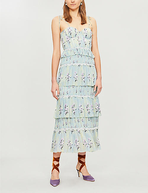 SELF-PORTRAIT Tiered floral-lace chiffon midi dress