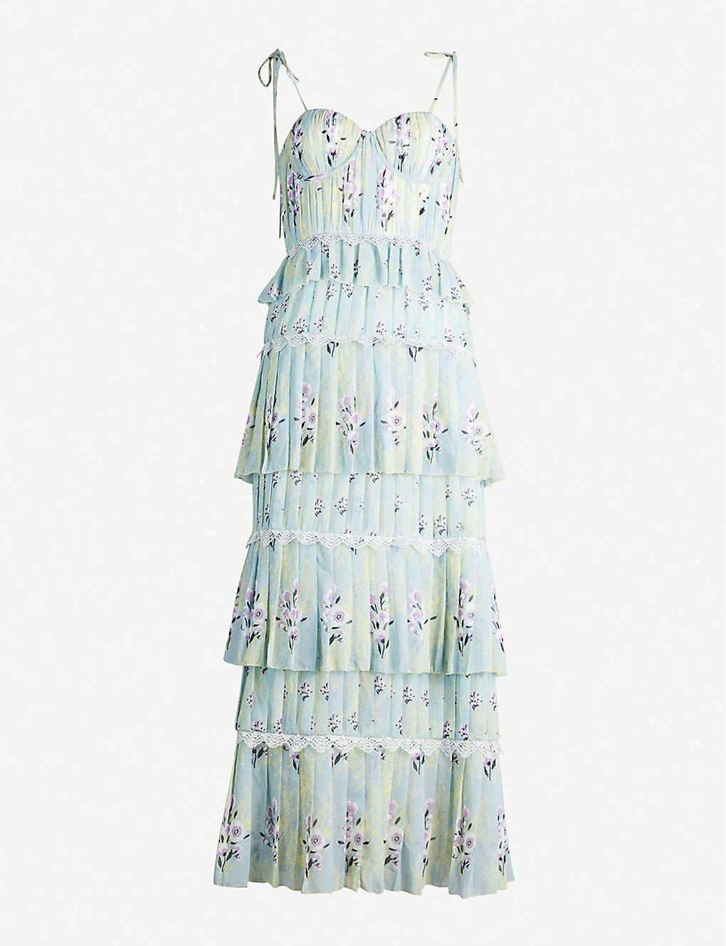 f14a7fa0978c SELF-PORTRAIT - Tiered floral-lace chiffon midi dress   Selfridges.com