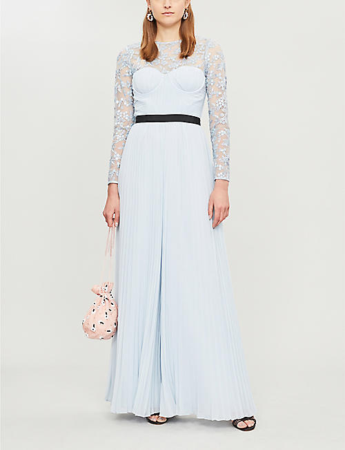 21e5d1fe054 SELF-PORTRAIT Long-sleeved lace-embroidered jumpsuit