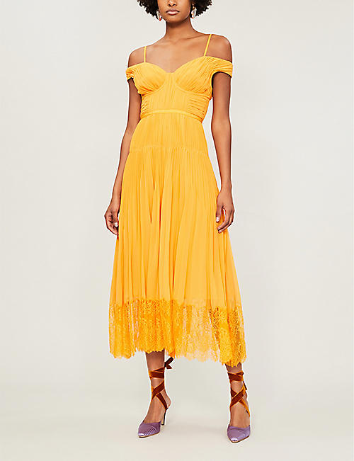 SELF-PORTRAIT Off-the-shoulder lace-trimmed pleated chiffon midi dress