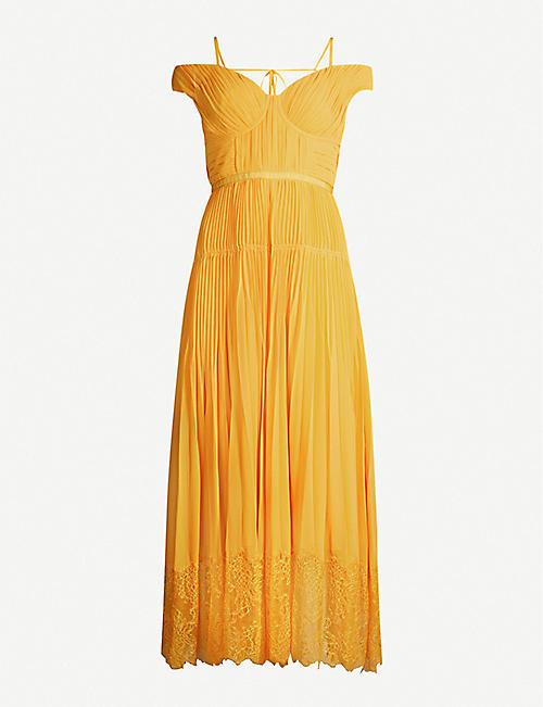 ff8bd78dd169 SELF-PORTRAIT Off-the-shoulder lace-trimmed pleated chiffon midi dress