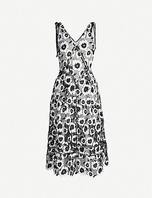 61a83f059f5f SELF-PORTRAIT Abstract floral-print sleeveless crepe dress