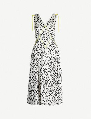 SELF-PORTRAIT Leopard-print sleeveless crepe dress